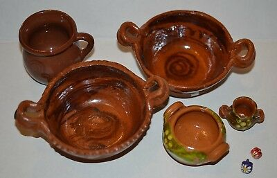 Mexican Decorative Pottery Lot of 7 Clay Cup Bowls Mini Cups - Pre-owned