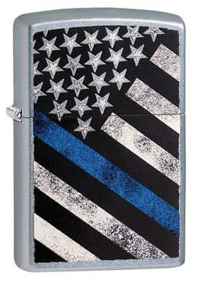 Zippo Windproof Lighter With American Flag, Blue Line Flag, 29551, New In Box