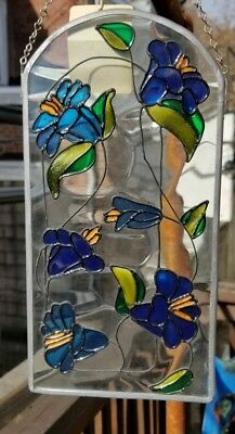Vintage Handpainted Morning Glory on English Cathedral Glass