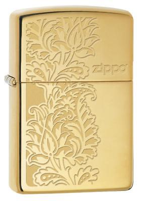 Zippo Windproof Polished Brass Lighter With Paisley Design, 29609, New In Box