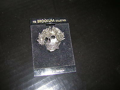 Grateful Dead Pewter Pin  1990 Vintage On Card Brokum Jerry Garcia Skeleton