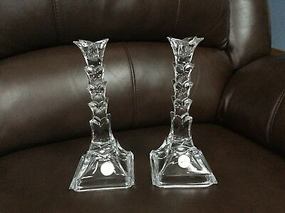 "Pair of 24% Lead Crystal Palm Tree Candlestick Holders ~ 8"" Tall ~ New"