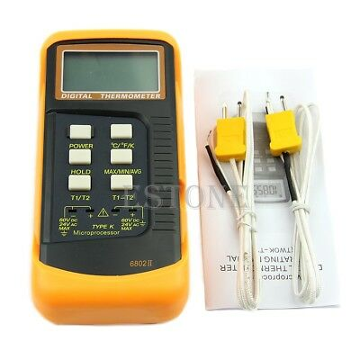 Dual 2 Probe Sensor K-Type Digital Thermometer Thermocouple 1300°C 2372°F