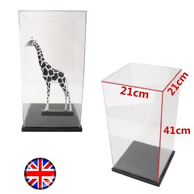 41cm H Clear Acrylic Perspex Display Case Box Plastic Base Dustproof Big Size UK