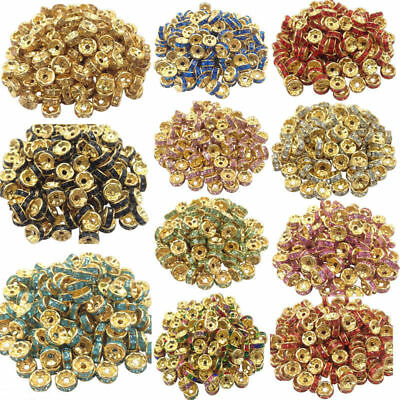 50/100Pcs Crystal Gold Plated Spacer Loose Beads Charms 8mm Findings Crafts DIY