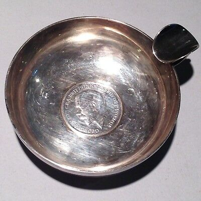 VINTAGE SOMMELIER'S SILVER plate english 1912 necklace TASTING CUP  TASTEVIN
