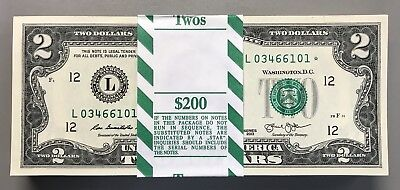 Series 2013 $2 STAR PACK W/BEP Strap 100 Consecutive Notes UNCIRCULATED SF