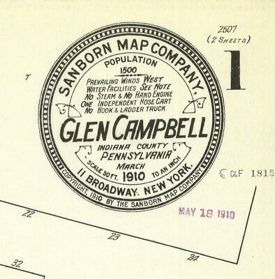 Glen Campbell, Pennsylvania~Sanborn Map© sheets made 1903 to 1929 in full color