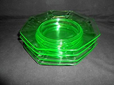 "Rare Hard to Find Heisey Ribbed Octagon Green Pattern Dessert Plate 7 3/4"" w2s3"