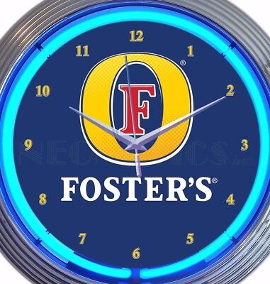 Foster's Beer Neon Wall Clock Office Game Room Garage 15 Inch Blue Red Yellow