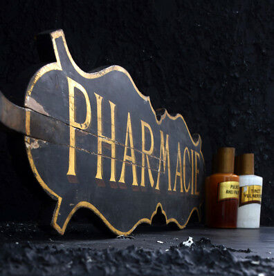 19th Century Carved Wood Double Sided Gold Leaf Antique French Pharmacy Sign