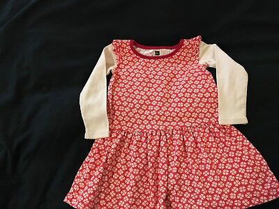 Pre-Owned Tea Baby Girls Size 18-24 month 100% Cotton Long Sleeve Red Dress LNC