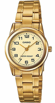 """Casio LTP-V001G-9B Women's Stainless Steel Watch GOLD-tone """"EASY-READER"""" NEW"""