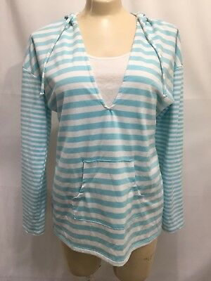 Motherhood Maternity Nursing Womens SMALL Baby Blue & White Striped Hoodie VEUC
