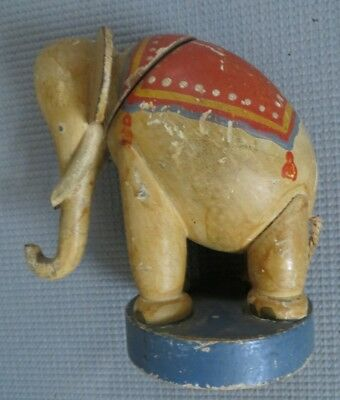 Interesting Antique Painted Wooden Elephant Still Bank