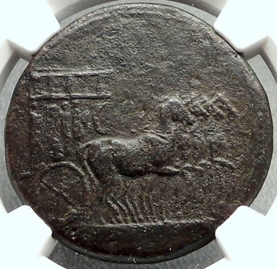 TIBERIUS Authentic Ancient 35AD Rome Sestertius Roman Coin w QUADRIGA NGC i67867
