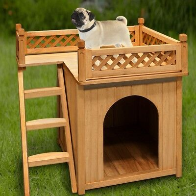 Dog Kennel House Wood Garden Wooden Cage Pet Puppy Outdoor Animal Indoor Shelter