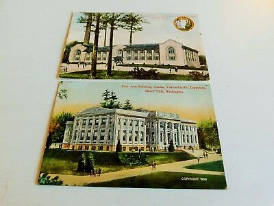 3 1909 Vintage Alaska Yukon Pacific Exposition Seattle Postcards Ncr Corp !