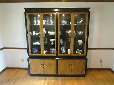 Modern Chin Hua burled wood & ebony dining room set  --table, buffet, breakfront