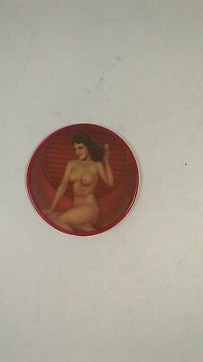 "Vintage Novelty Mirror nude women 2 1/2 "" diameter"