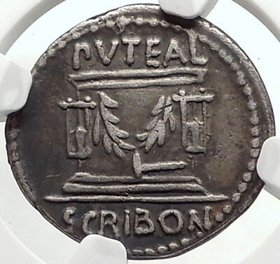 Roman Republic Rome FORUM Building 62BC Genuine Ancient Silver Coin NGC i67869