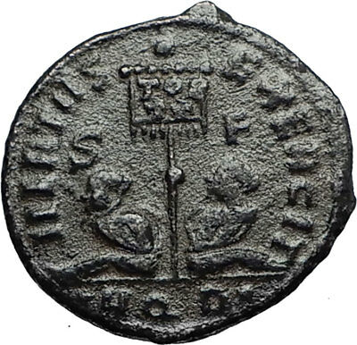 CONSTANTINE I the GREAT Authentic Ancient 320AD Roman Coin w STANDARDS i67374