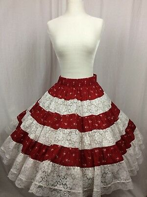 Square Dance Skirt Red Floral With Peek a Boo White lace Teirs