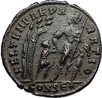 CONSTANS Authentic Ancient 348AD Roman Coin w SOLDIER BARBARIAN HUT i67391