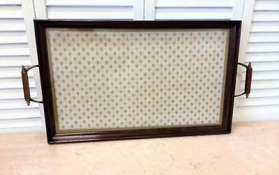 ANTIQUE Rectangular Butler's Serving Tray w Handles and Glass Top