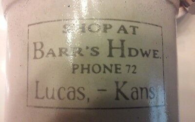 Vintage Redwing Advertising cheese crock Shop at Barr's Hdwe Phone 72 Lucas Kans