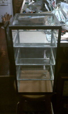 """Counter top display case 17 1/2"""" tall just over 10 1/2 """" square, 3 shelves"""