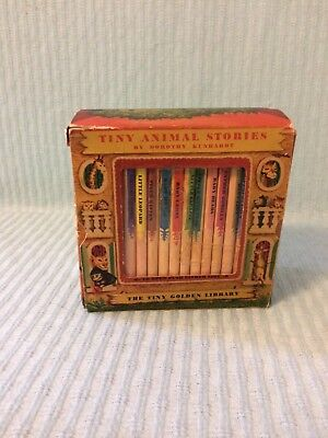 """Vintage """"The Tiny Golden Library"""" Tiny Animal Stories Set Of 12 Books w/ Holder"""