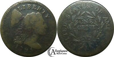 1795 1c Flowing Hair Large Cent S-76b R.1 from an old estate lot/collection