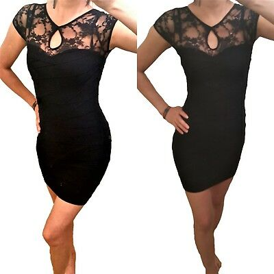 """""""Yi Tong """" Black Lace with Cotton blend Stretch Bodycon Sexy MiNi Dress - XS~S"""