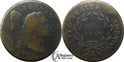 1796 1c Flowing Hair Cap Large Cent S-87 R.3 from an old estate lot/collection