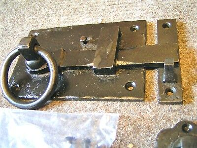 Mission Door RING style Gate Latch Hammered Iron BLACK Left Hand