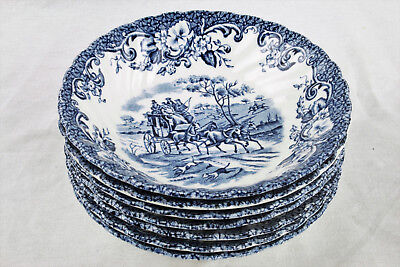 """7 Coaching Scenes Made in England by Johnson Bros 5"""" Bowls - Ironstone"""