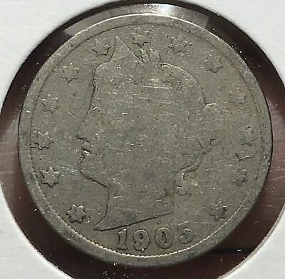 1905 Liberty V Nickel. Nice Collector Coin For Your Collection. 8