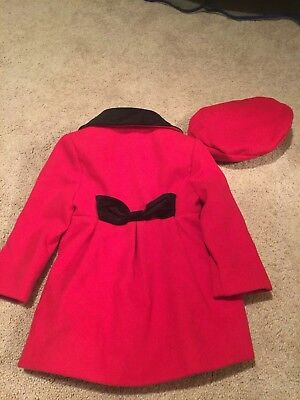 Rothschild Girls Red & Black Faux Wool Coat & Hat Size 2T