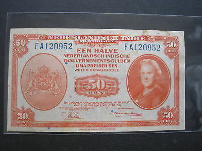 Netherlands East Indies 50 Cent 1943 #t Indonesia Dutch Banknote Paper Money