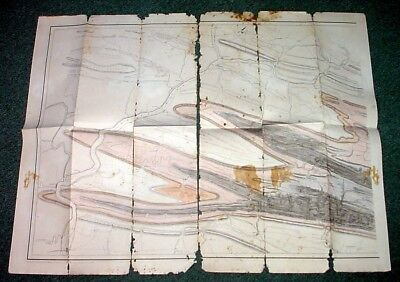 Large 1858 Central PA Geological Topographical Map W/ Heavy Damage -- OFFERS?