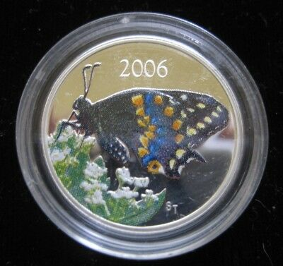 Canada 50 Cents 2006 Silver Colorized Proof Swallowtail Butterfly 28# Money Coin