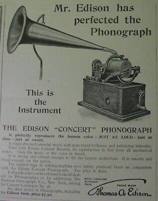1899 ad: Thomas EDISON Concert Phonograph - perfected by Mr. Edison