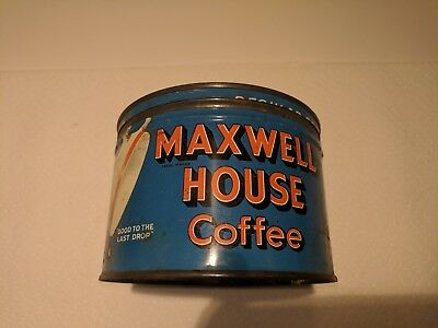 VINTAGE KEY OPEN MAXWELL HOUSE REGULAR GRIND COFFEE TIN CAN 1 lb. EMPTY 1940's?