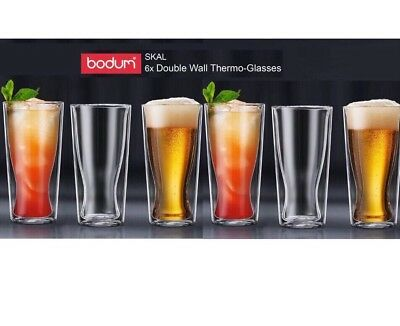 6x BODUM Skal Double Wall Thermo Glasses 350ml |Coffee|Tea |Beer glass Brand new
