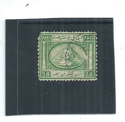 EGYPT. 1867. SPHINX & PYRAMID. 20 pa GREEN. VERY FINE USED. AS PER SCAN