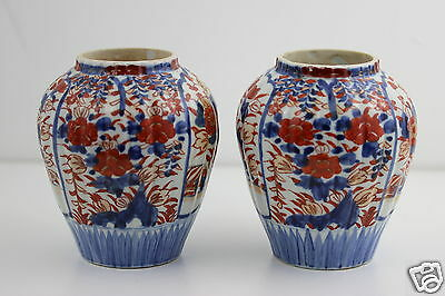 Antique 19th Century Japanese Imari Pair Vases Meiji Period 14x12cm Handpainted