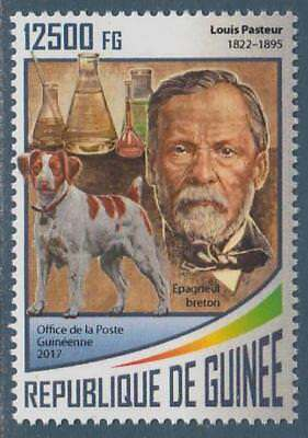 English Brittany Spaniel Dogs Louis Pasteur Guinea MNH stamp 2017