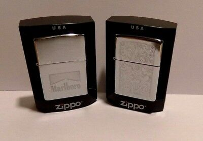 Marlboro Zippo Lighter Collection of 2 Lot #2 Floral + Brushed Chrome Cases NEW