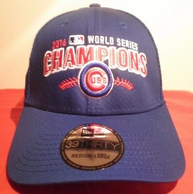 c178d7cdfeb NEW ERA 39THIRTY CHICAGO CUBS World Series Champions MLB Stretch Fit Hat  NWT M L -  19.99